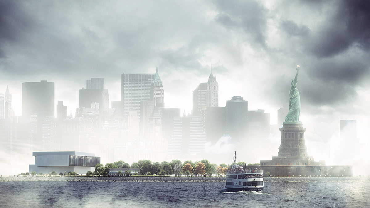 liberty island exterior rendering, architectural visualization services