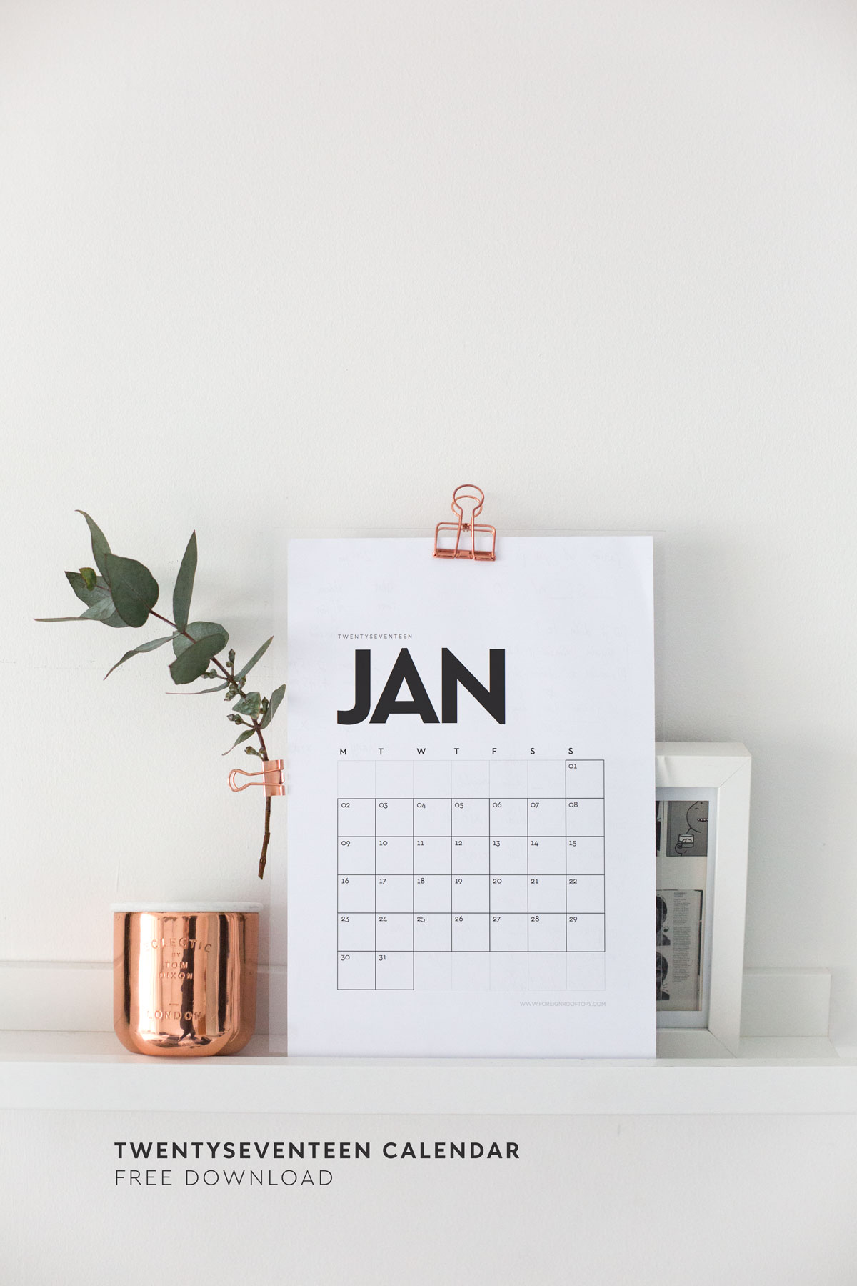2017 Calendar Minimalist : Printable wall calendar free download