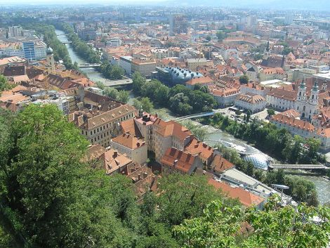 Verlauf der Mur durch Graz © wikimedia commons: Kermoareb