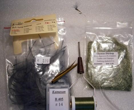 Forelle Äsche Fliegenbinden Blue Winged Olive BWO 7 Bindematerial