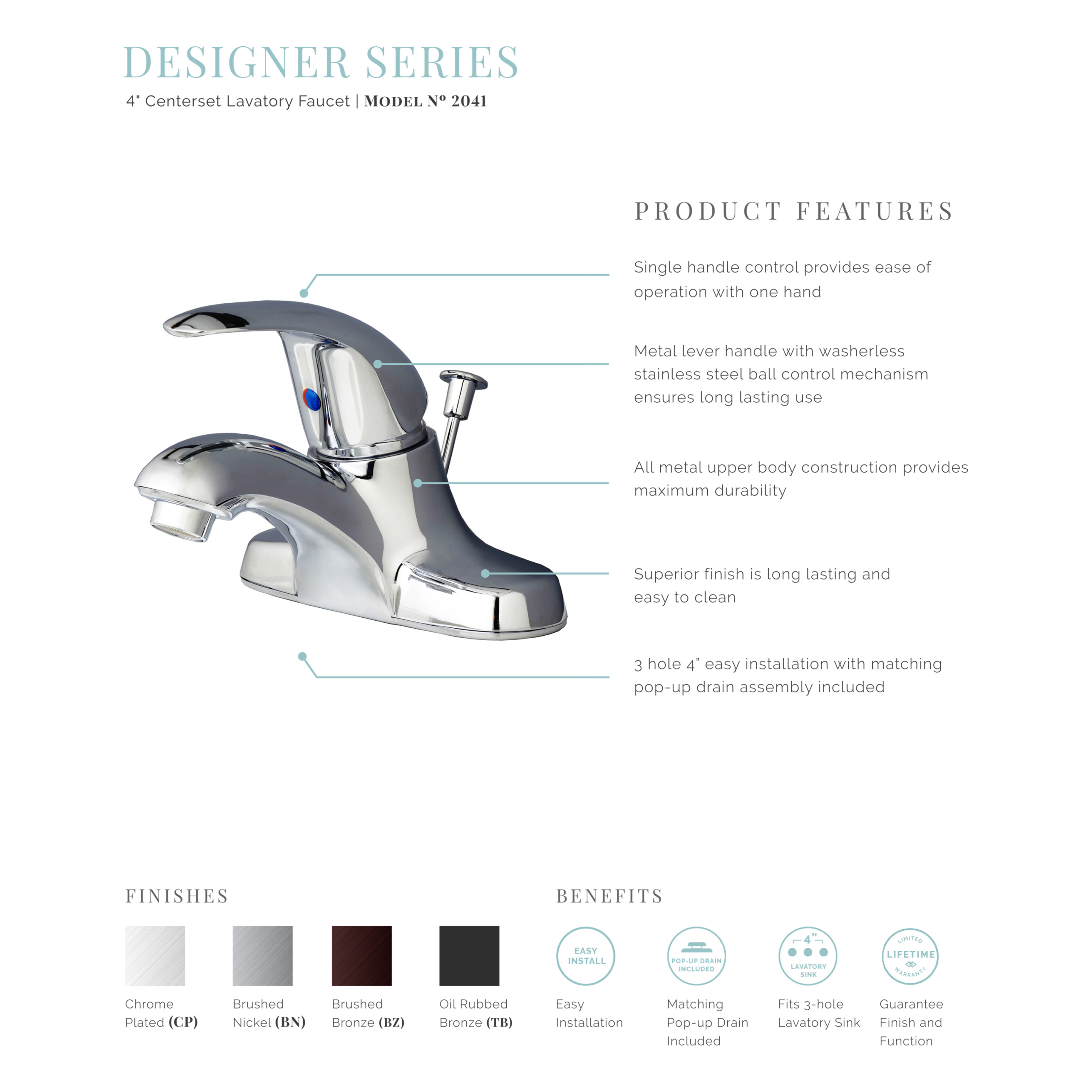 Designer Single Handle Bathroom Vanity Sink 4 Centerset