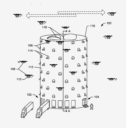 ever smarter world  amazon patent for a drone delivery hub 2015