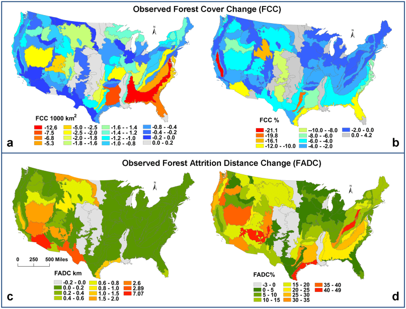 the highest forest attrition is concentrated in western U.S.