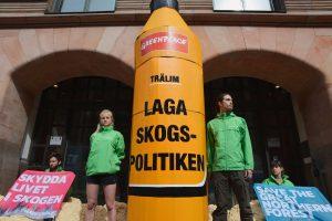Pokojowy protest Greenpeace.