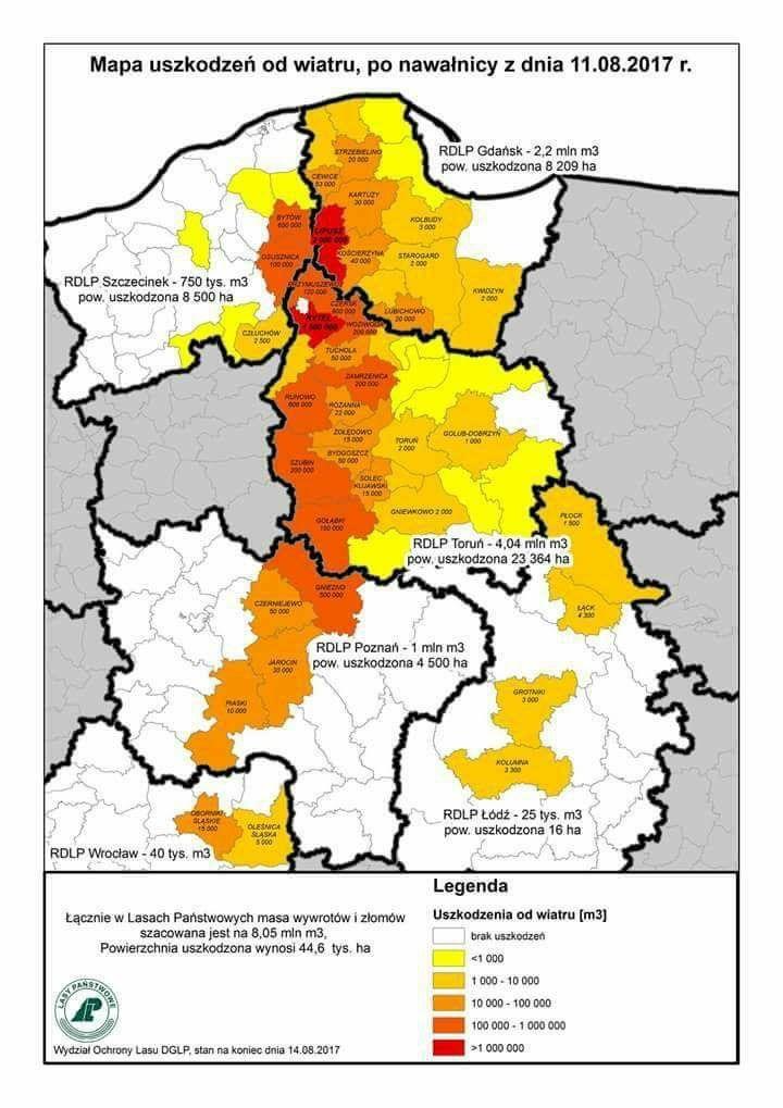 Lasy Panstwowes karta över drabbade skogsområden i norra och centrala Polen.