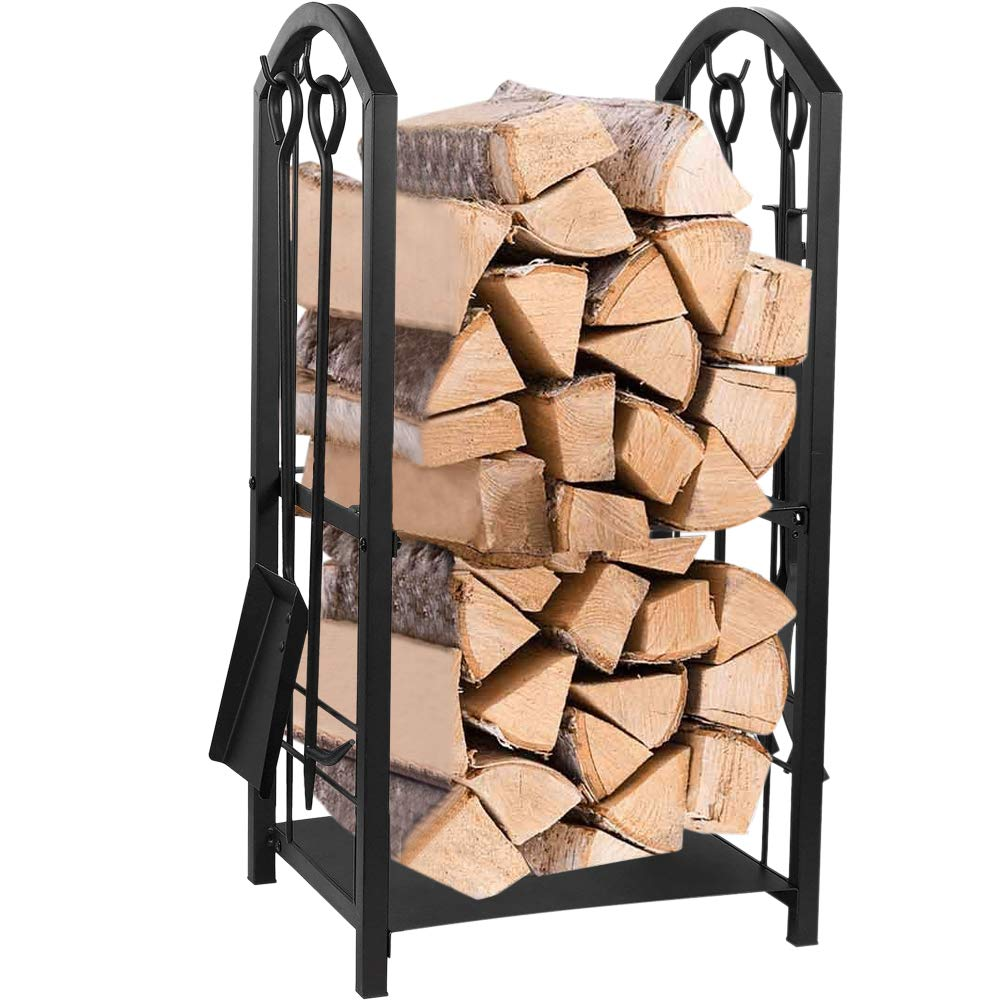 Juvale Firewood_Rack_with_4_Fireplace_Tools_Iron_Fire_Log_Holder_Storage_Set_for_Indoor_and_Outdoor_Use
