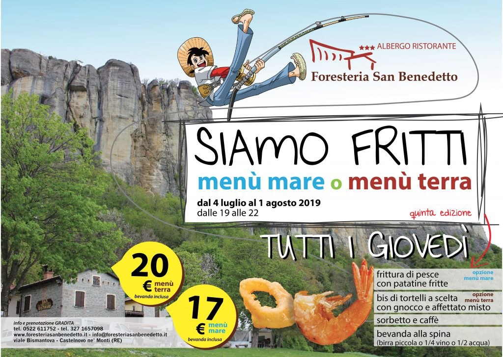 Cene con fritture di terra e mare, estate Foresteria San Benedetto