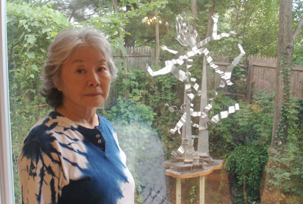 "Setsuko Ono with her sculpture, ""Ecstasy of Love"" (photo by Lee Armfield Cannon)"