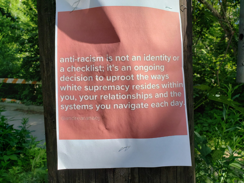 anti-racism is not an identity or a checklist; it's an ongoing decision to uproot the ways white supremacy resides within you, your relationships and the systems you navigate each day