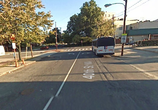 An AU shuttle bus is seen here in this 2007 Google Streetview photo of 40th and Albemarle.