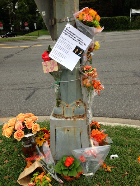 A makeshift memorial at the crash site. (photo by Sally Gresham)