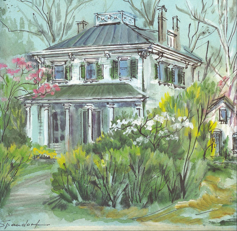 Undated painting of the John Chappell House by Washington artist Lily Spandorf.
