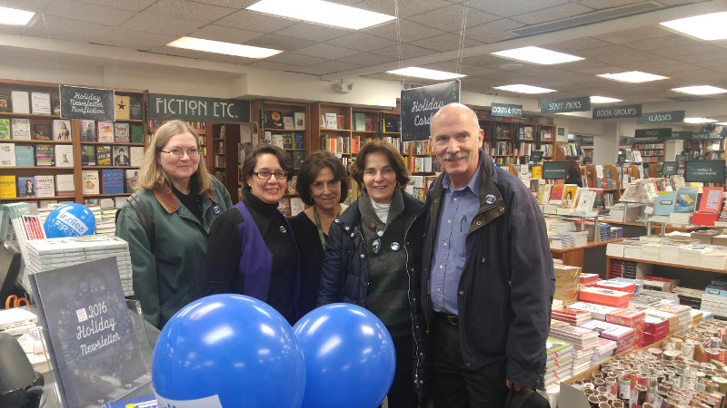 L-R: DSLBD's Lauren Adkins and Ana Harvey, Politics and Prose co-owner Lissa Muscatine, CM Mary Cheh, Council Chair Phil Mendelson