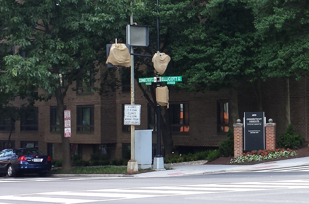 The pedestrian-activated signal lights have been installed at the intersection of Connecticut and Ellicott.