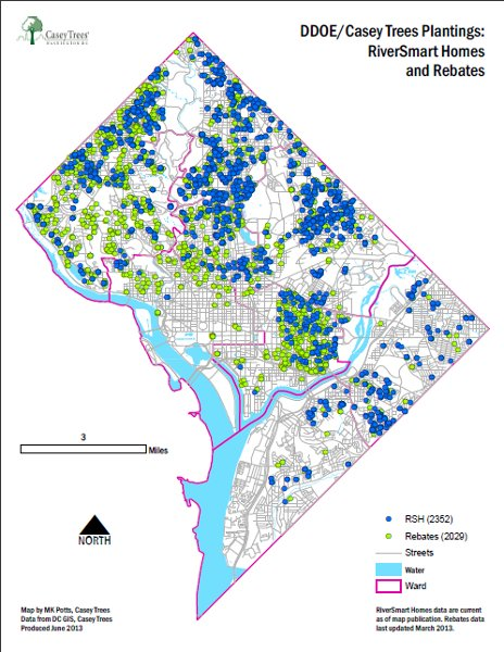 Locations of incentivized DDOE/Casey tree plantings (courtesy of Casey Trees; click the map to download the PDF)