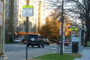 DDOT recommends a HAWK signal for this marked, unsignalized crosswalk at Connecticut Ave. and Ellicott St.
