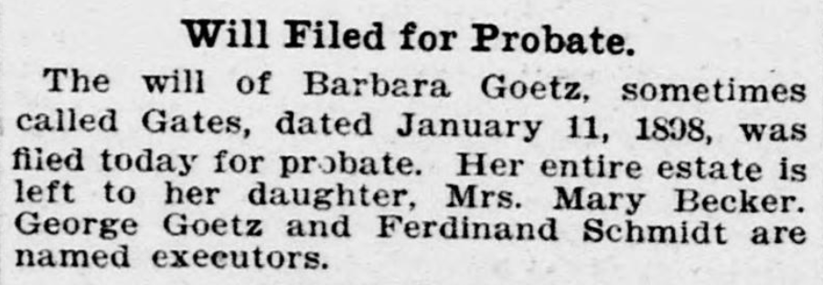 """""""Will Filed for Probate,"""" Evening Star, October 5, 1904, p. 12."""