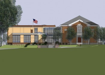 Architect's rendering of the Hearst School with the new addition on the left. Click on the image to view a larger version.