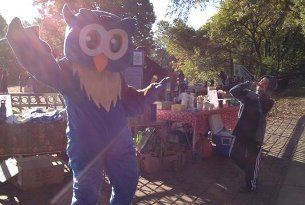 The Hearst mascot at last year's e-cycle event.