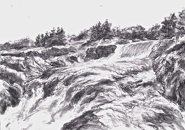 """""""Great Falls, on the Potomac,"""" charcoal by Herb Parsons."""