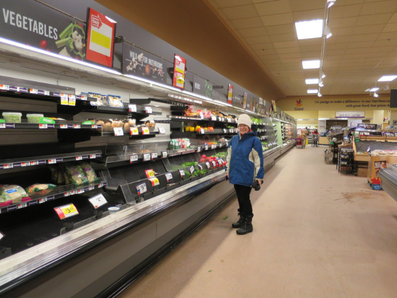 Annette Aburdene perusing what was left of the vegetables at Giant