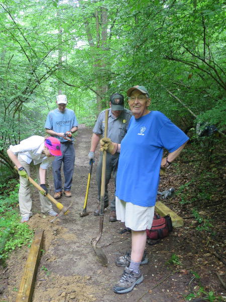 Ken Ferebee, second from right, is with the National Park Service. Joe Kolb, right, is a longtime PATC overseer.