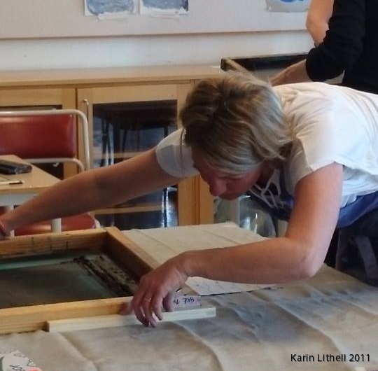 Karin Lithell working on screen printing last year in Sweden.