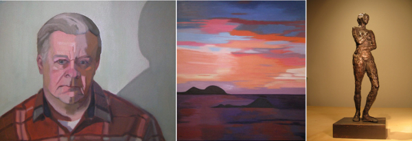 """Deborah LaCroix's repertoire includes portraits, landscapes and sculpture. From left to right: """"Chuck,"""" """"Cariacou Sunset,"""" """"Amour."""""""