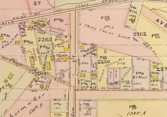 Dr. Dickinson's lot just to the south of a large Chevy Chase Land Co. parcel, is marked on this 1919 atlas of DC. (Baist Real Estate Atlas Surveys of Washington, District of Columbia, courtesy of the Library of Congress online)