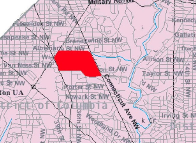 North Cleveland Park is marked in red on this map from Wikimedia Commons.