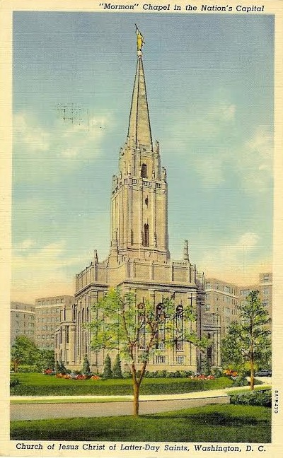 An illustration of the Mormon Chapel from a period postcard.