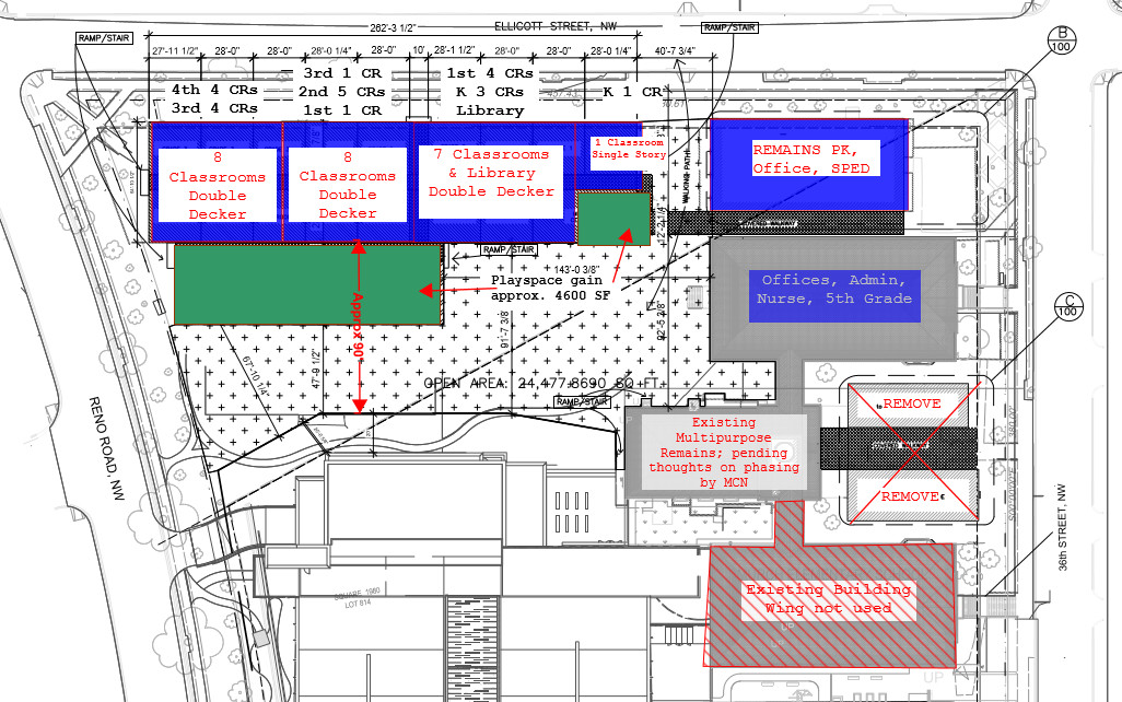One option is to house students in double-decker trailers on the current Murch grounds, at a cost of $5.3 million. (from plans DCPS and DGS presented to the Murch SIT Jan. 7th, 2016)