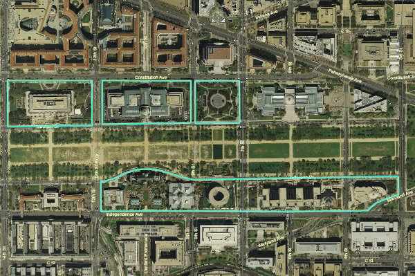 Fig. 12 - Smithsonian-managed parts of the National Mall (Image provided by NCPC)
