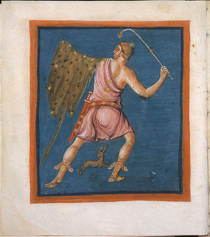This illustration of Orion, the hunter, is from a manuscript that dates back to around 816 A.D. (from Wikipedia.com)