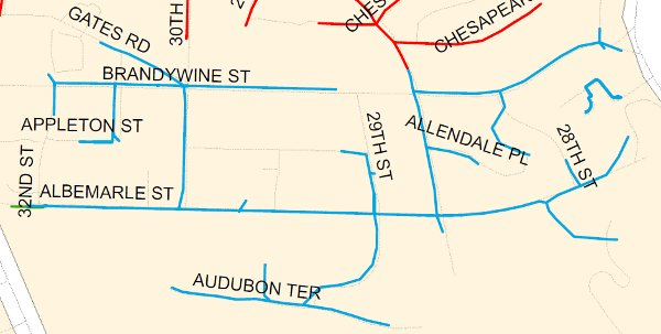 Pepco feeder line 14333 serves the areas in blue. (Pepco map)