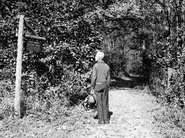 Man at a Rock Creek Trail, location unknown, October 1941. (photo provided by the National Park Service)