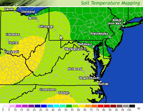 The soil temperature map as of April 24th, shows DC-area soil temperatures in the 55 to 60-degree range. Click on the image to determine the current temperature.