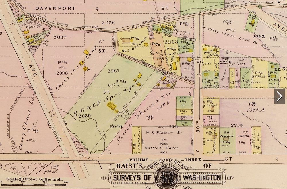 The Springer Farm is in light green in the 1913 edition of Baist's Real Estate Atlas Surveys of Washington, volume 4, plate 32.