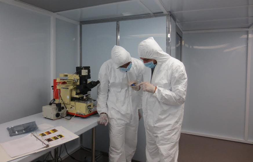 UDC students Denikka Brent and Tyler Saunders in the nanotechnology lab's clean room. (photo provided by Pawan Tyagi)