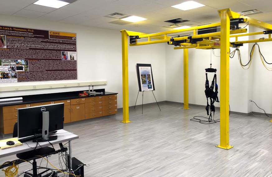 The new Center for Biomechanical & Rehabilitation Engineering contains state-of-the-art equipment such as the NaviGAITor system for study participants with balance issues.