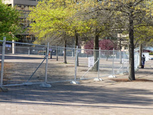 The first security fence around the future UDC student center went up in spring 2012.