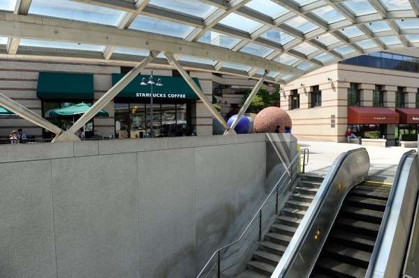 The condition of these stairs at the Van Ness Metro station's west entrance could determine if the entrance can reopen at times during the escalator replacement project. (WMATA photo)