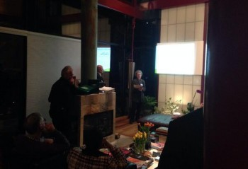 Marlene Berlin presents at the Feb. 20th Vision Committee gathering for Van Ness property owners. (photo by Adam Tope)