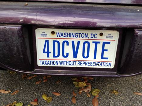 Vote DC license plate