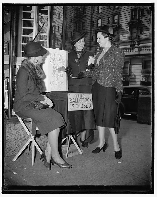 DC residents could not vote in presidential elections until 1964. Please exercise your right! (photo from the Library of Congress collection of a 1938 protest by the League of Women Voters)