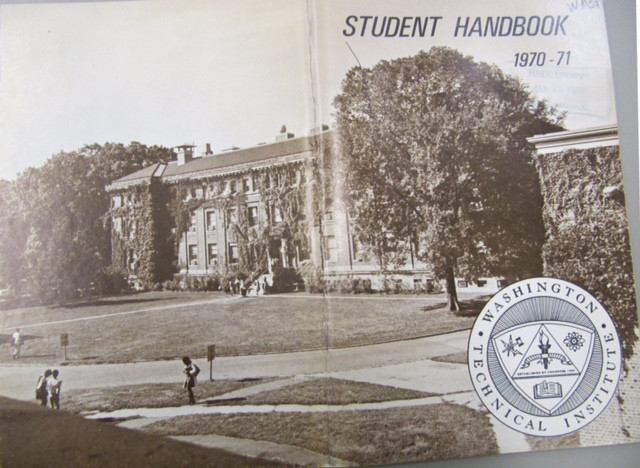WTI temporarily used old National Bureau of Standards buildings. (Image courtesy of the Washingtoniana collection of MLK Library. A copy of the student handbook is in the UDC Archives.)