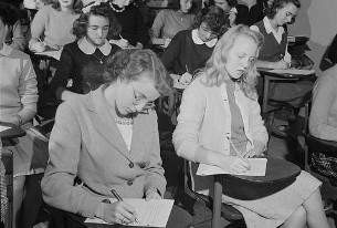 Wilson students taking a test in 1943. (loc.gov)