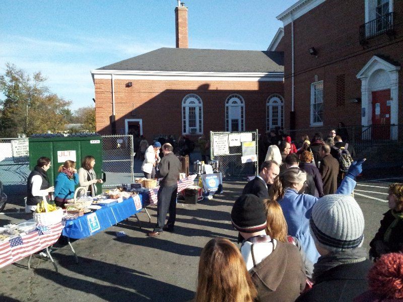 Voters line up at Murch, November 2012. Voters who normally vote there are being directed to the St. Paul's Church community room due to the Murch renovation.