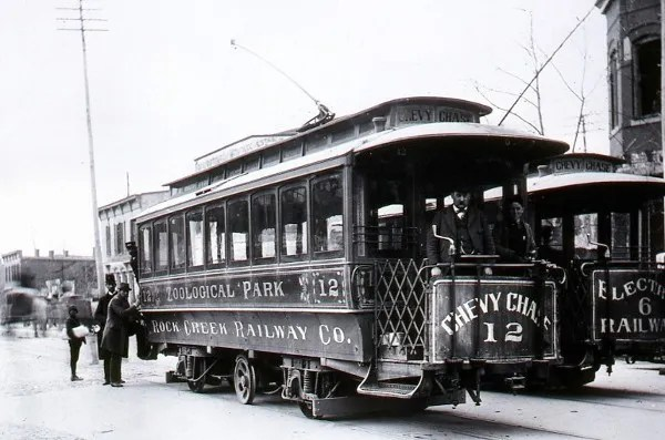 Two early streetcars that ran on the Connecticut Avenue line. (Courtesy Chevy Chase Historical Society, Robert Truax collection)