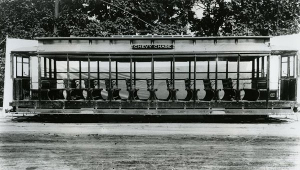 Summer streetcar, ca. 1914, in use into the 1920s. (Courtesy Chevy Chase Historical Society, gift of Edith Claude Jarvis)